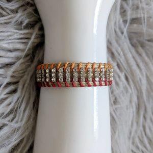 LOFT cord wrapped matte gold bracelet w/rhinestone